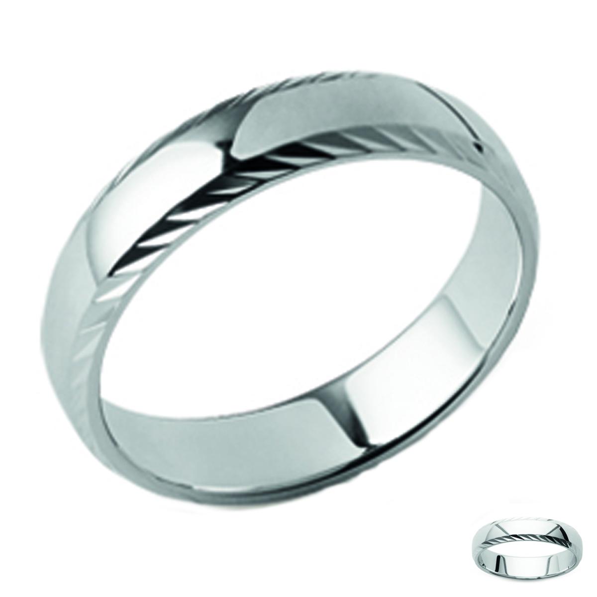 Alliance Argent \'Lien d\'Amour\' argenté (rhodié) - 5 mm - [Q3599]
