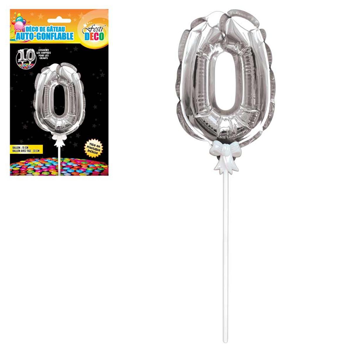 Décoration de gateau ballon métallique \'Chiffre 0\' argenté - 15 cm - [Q4339]
