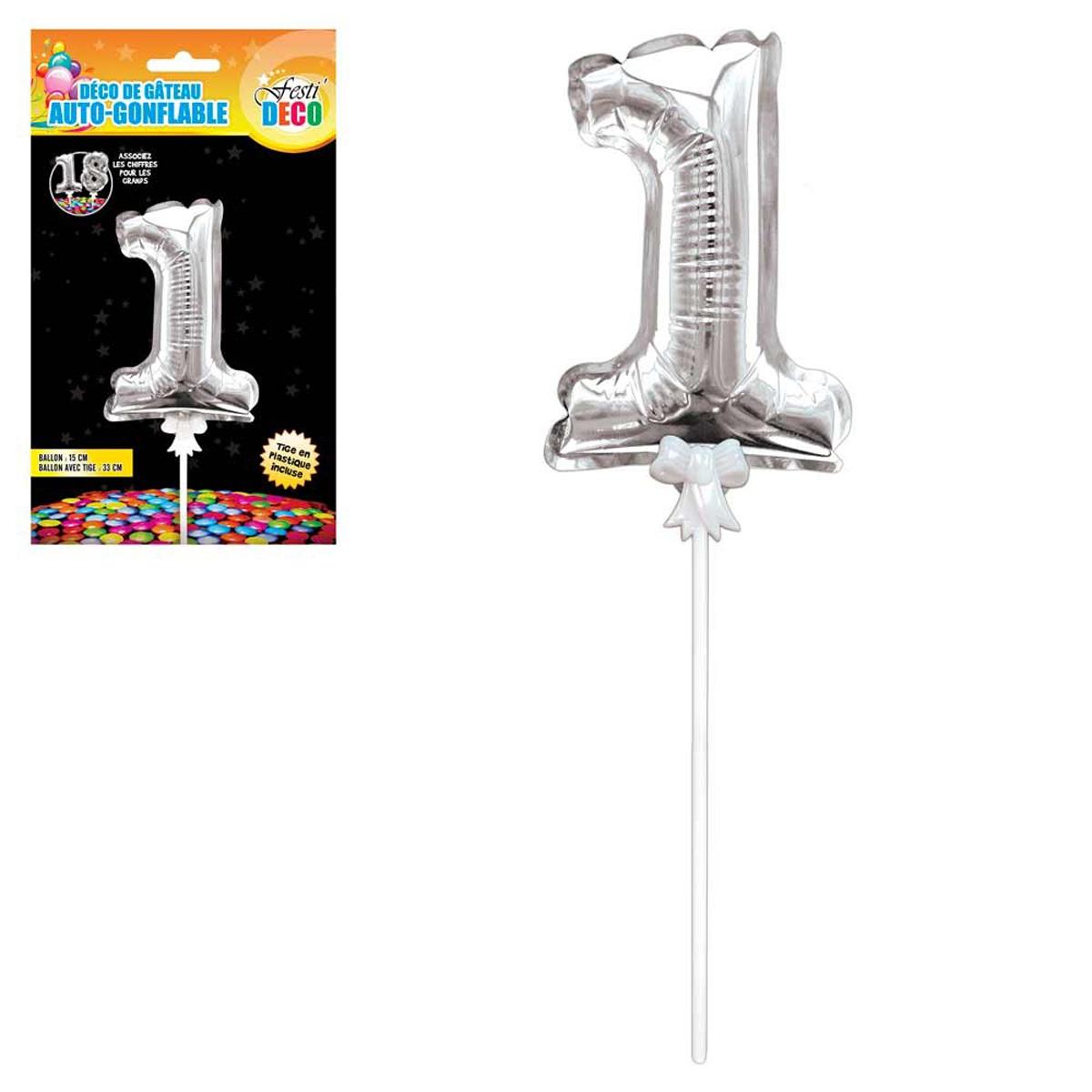 Décoration de gateau ballon métallique \'Chiffre 1\' argenté - 15 cm - [Q4340]
