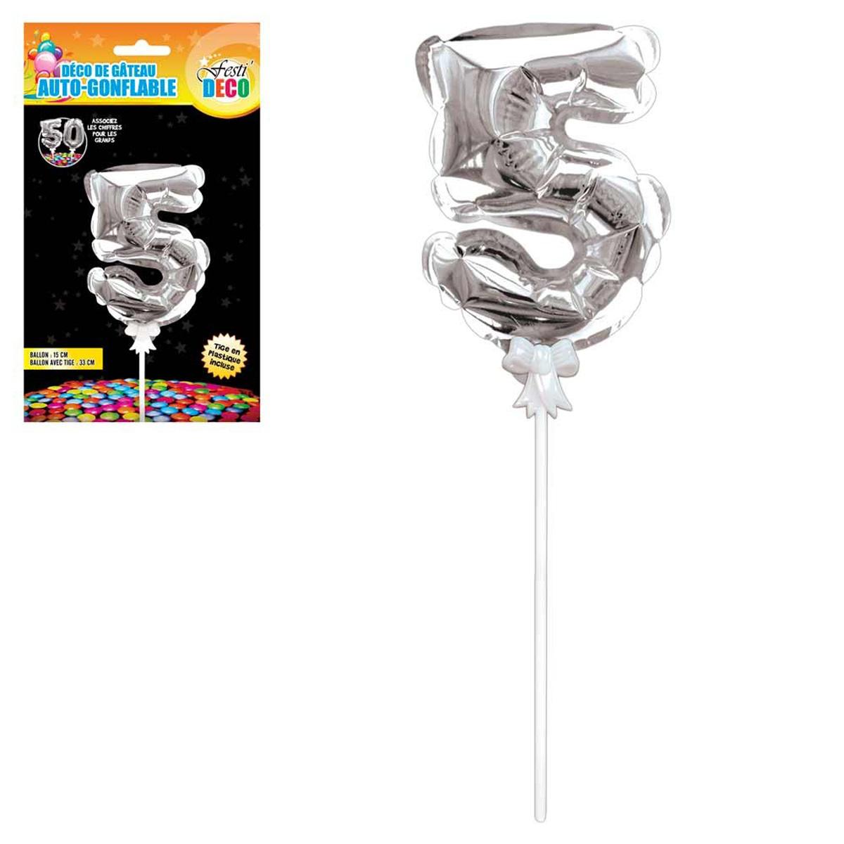 Décoration de gateau ballon métallique \'Chiffre 5\' argenté - 15 cm - [Q4344]