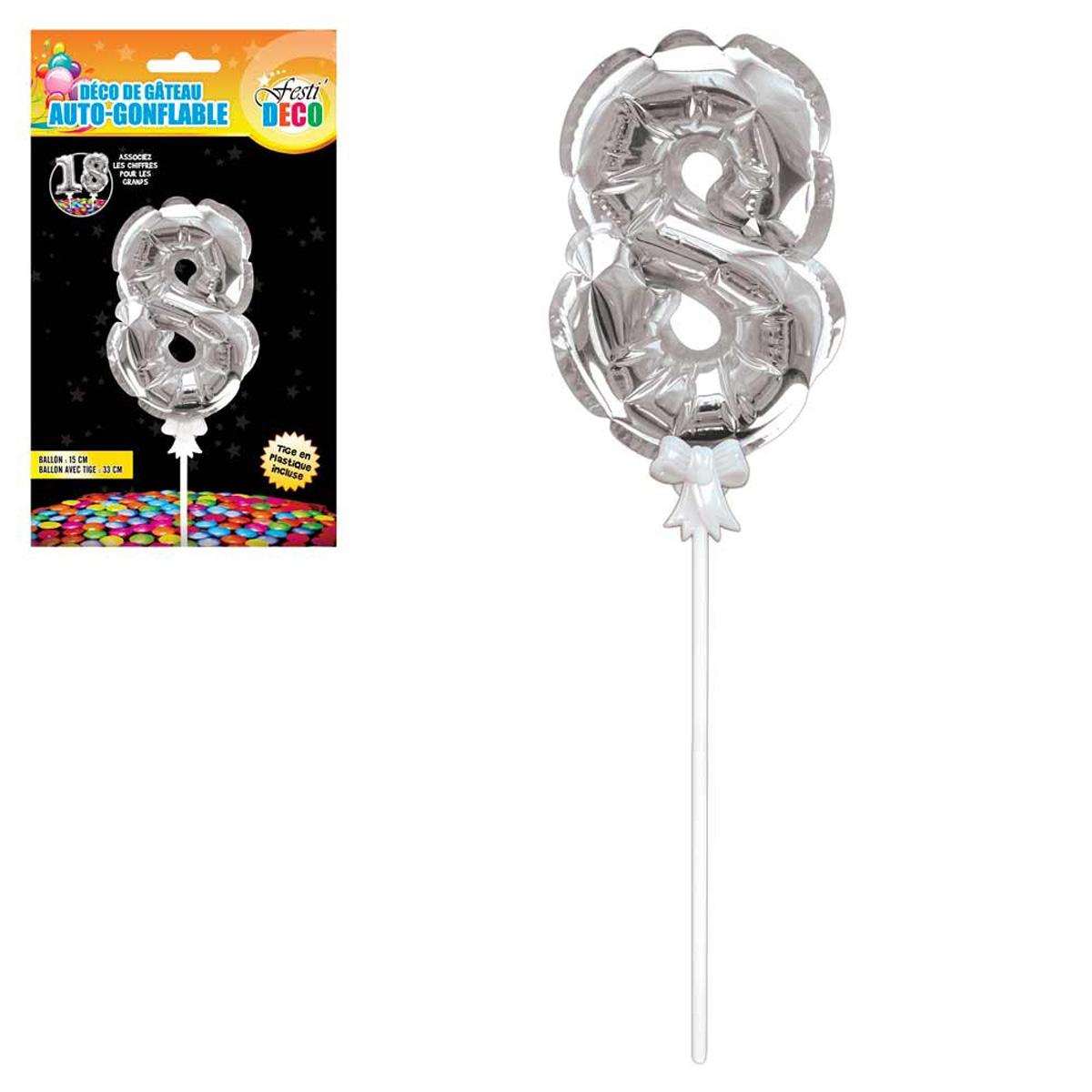 Décoration de gateau ballon métallique \'Chiffre 8\' argenté - 15 cm - [Q4347]