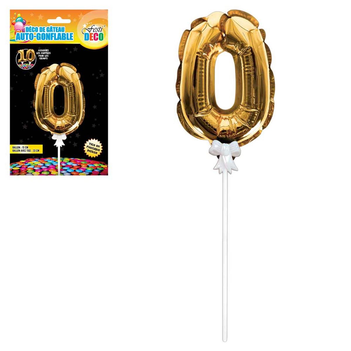 Décoration de gateau ballon métallique \'Chiffre 0\' doré - 15 cm - [Q4349]