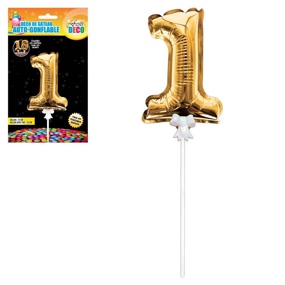 Décoration de gateau ballon métallique \'Chiffre 1\' doré - 15 cm - [Q4350]