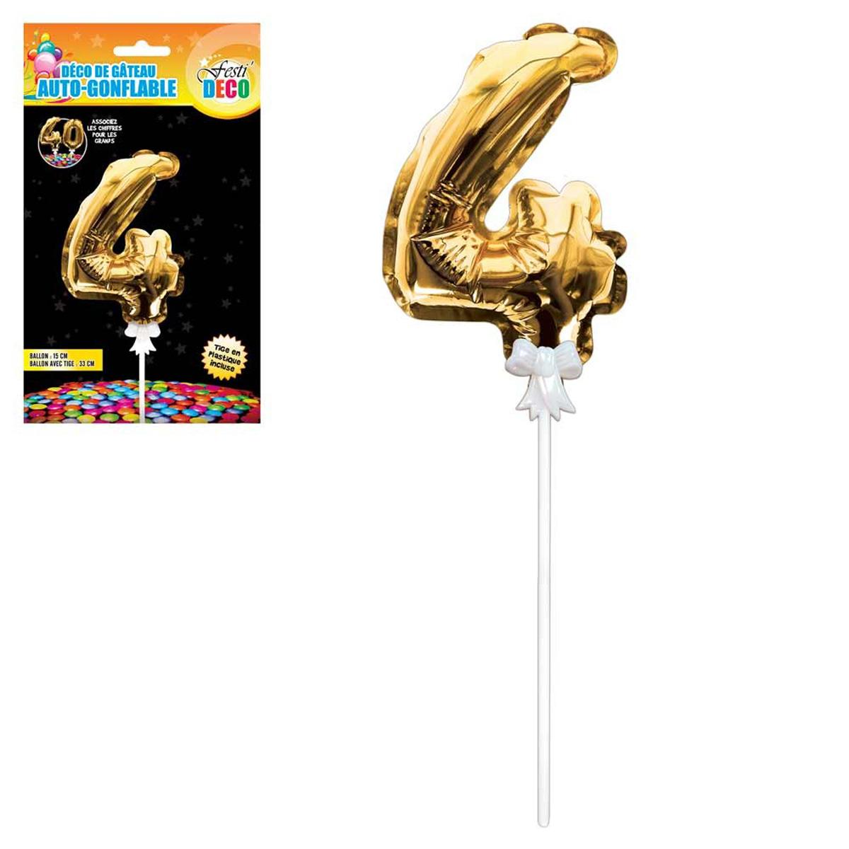 Décoration de gateau ballon métallique \'Chiffre 4\' doré - 15 cm - [Q4353]