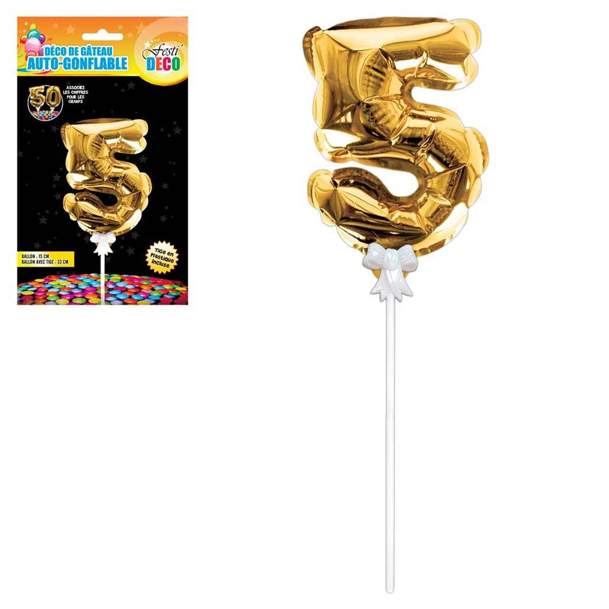 Décoration de gateau ballon métallique \'Chiffre 5\' doré - 15 cm - [Q4354]