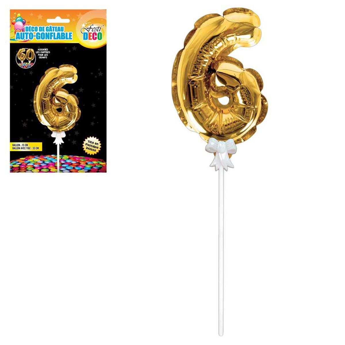 Décoration de gateau ballon métallique \'Chiffre 6\' doré - 15 cm - [Q4355]