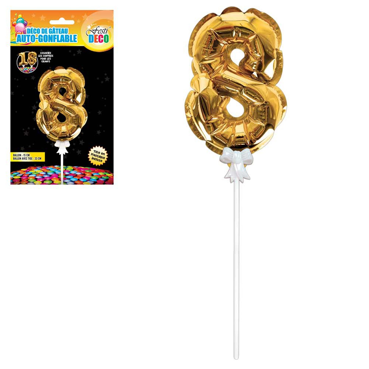 Décoration de gateau ballon métallique \'Chiffre 8\' doré - 15 cm - [Q4357]