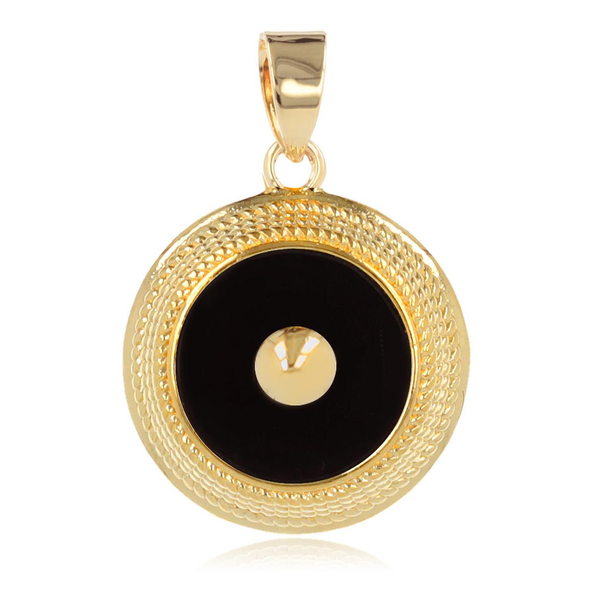 Pendentif Plaqué Or \'Oracle\' onyx doré - 15 mm - [Q4616]