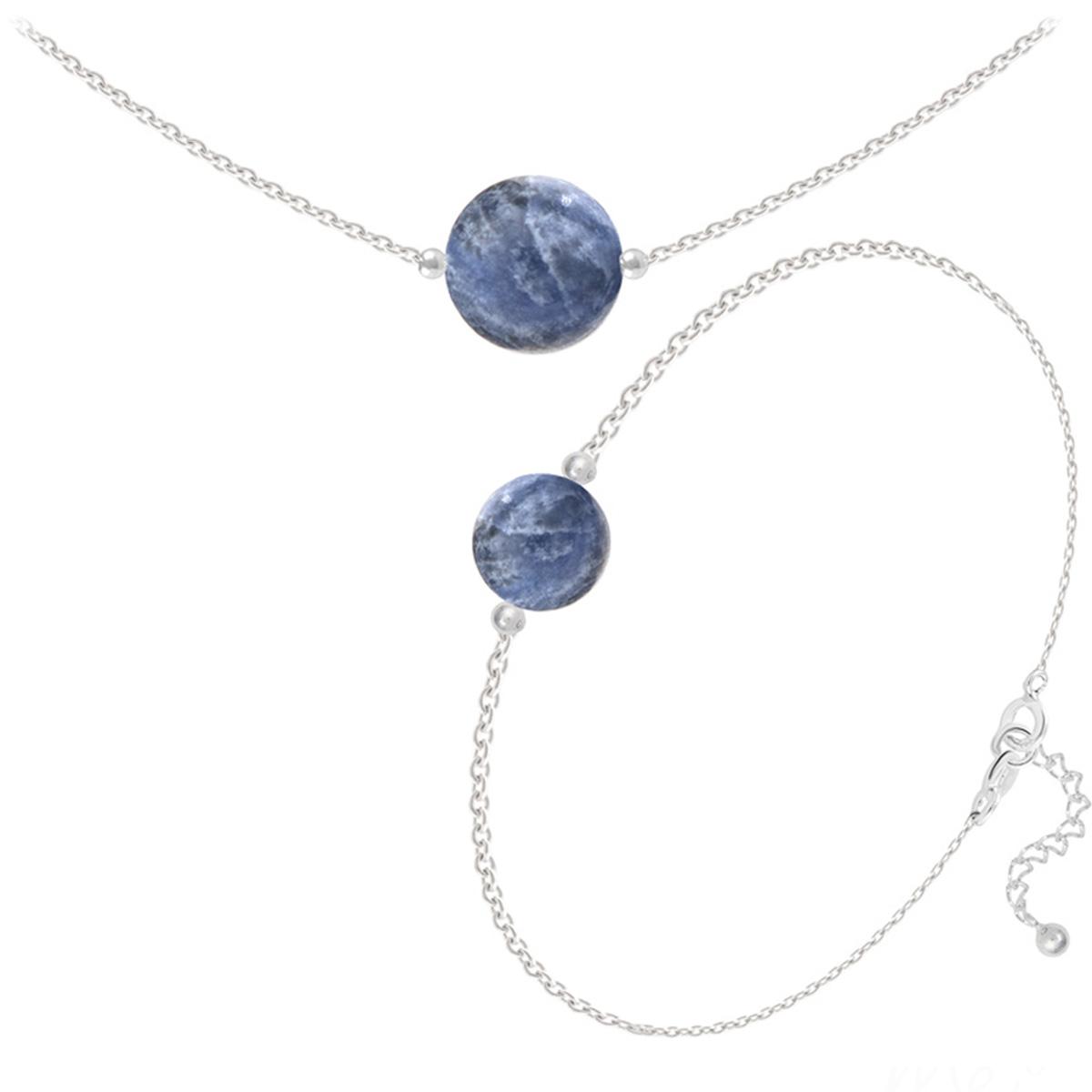 Parure argent artisanal \'Mineralia\' sodalite argenté - 10 et 8 mm (collier & bracelet) - [Q4684]
