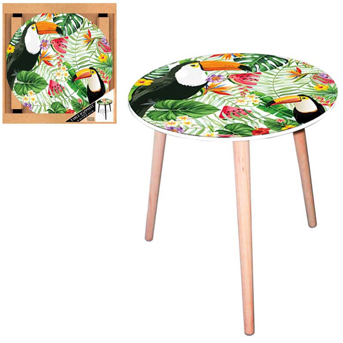 Table ronde résine \'Tropical\' vert multicolore (toucan) - 40 cm - [Q5149]