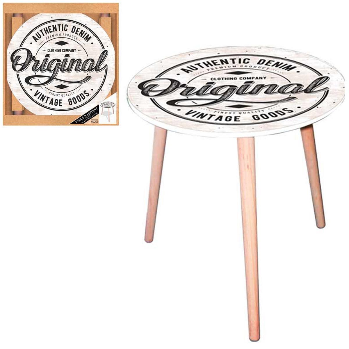 Table ronde résine \'Original\' beige (authentic denim - vintage goods) - 40 cm - [Q5151]