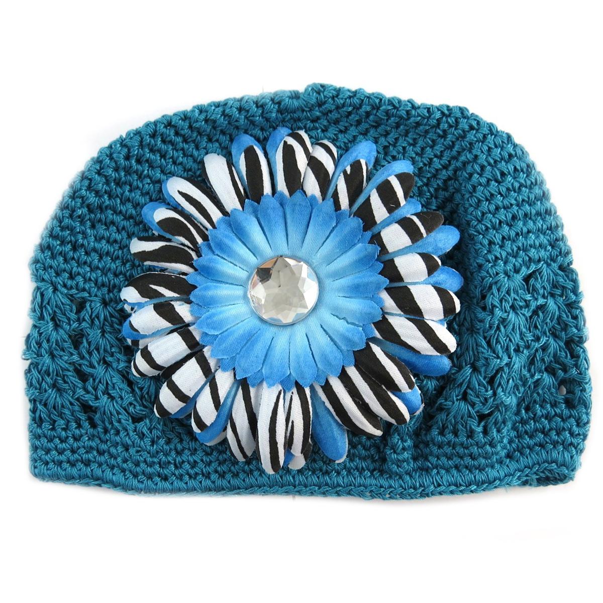 Bonnet enfant \'Petite Lily\' bleu canard - [Q5238]