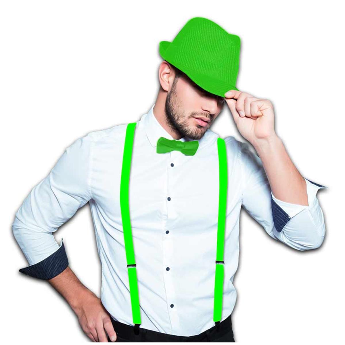 Chapeau Borsalino \'Coloriage\' vert - [Q5516]