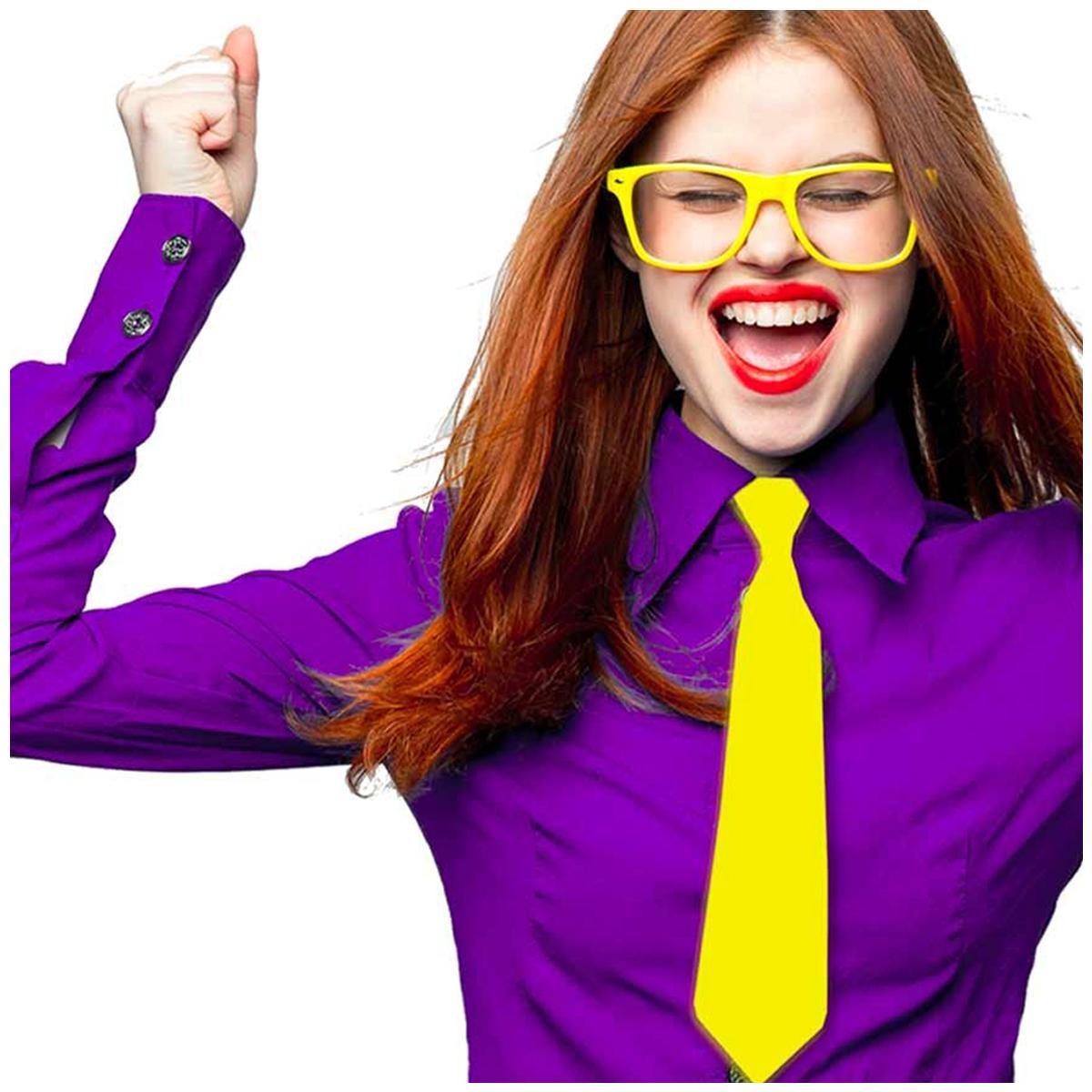 Cravate festive \'Coloriage\' jaune satiné - 365x8 cm - [Q5558]