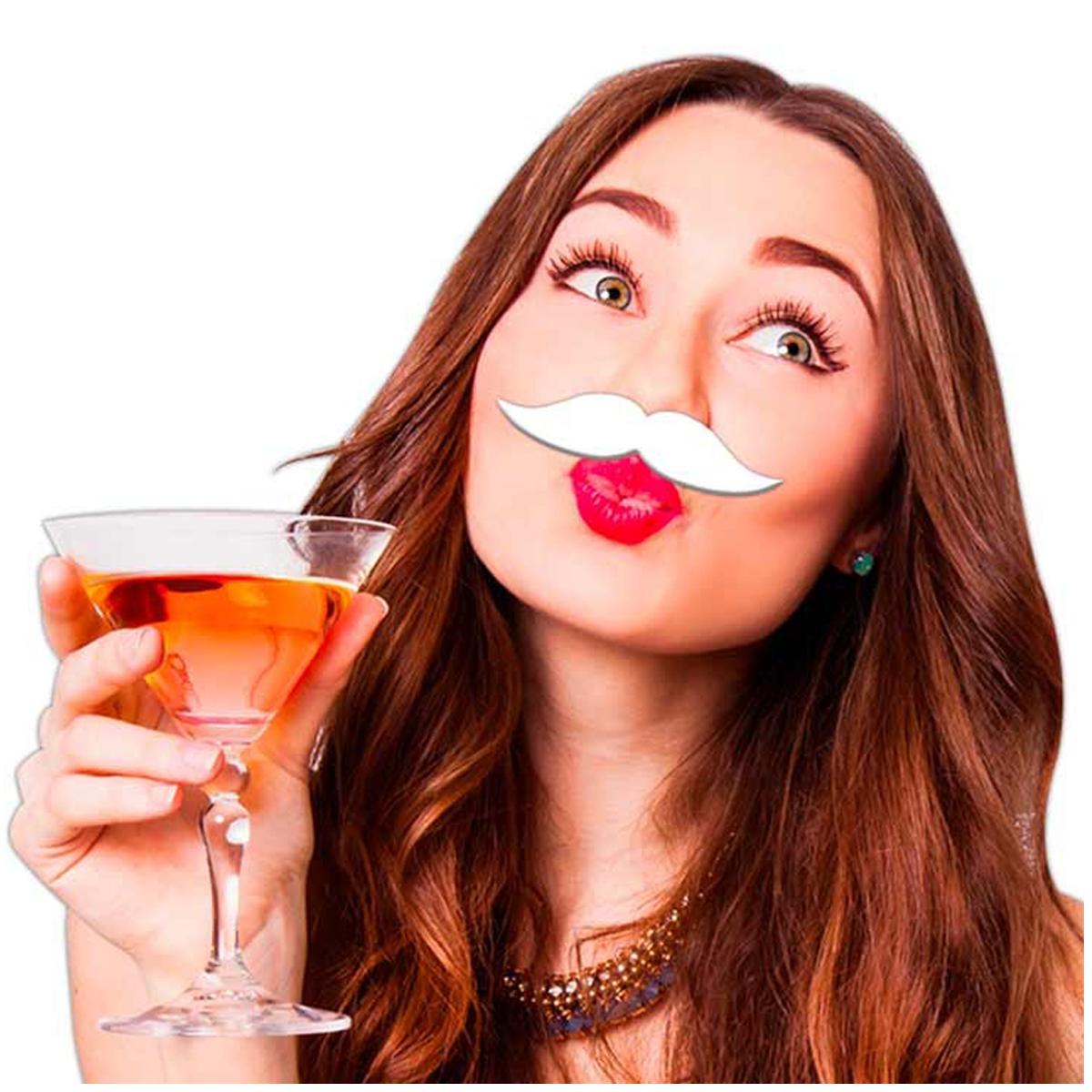 Fausse moustache \'Coloriage\' blanc - 9x23 cm - [Q5566]