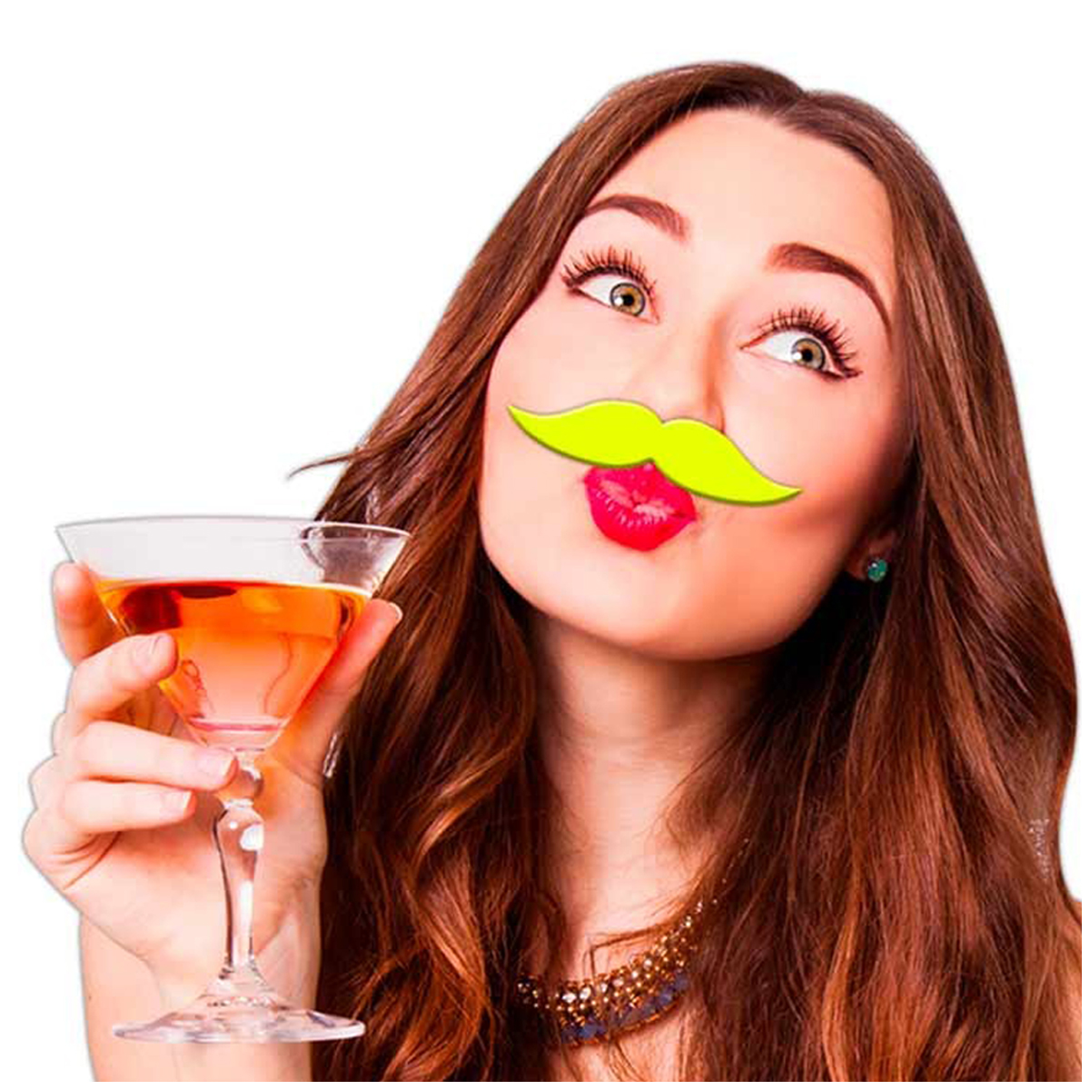 Fausse moustache \'Coloriage\' jaune - 9x23 cm - [Q5567]