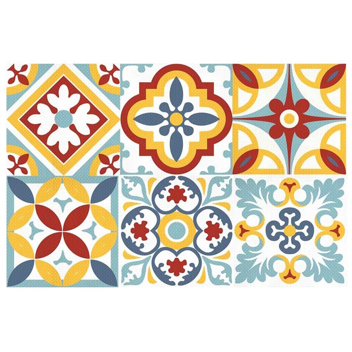 Set de table plastifié \'Boho\' multicolore (carreaux) - 43x28 cm - [Q5591]