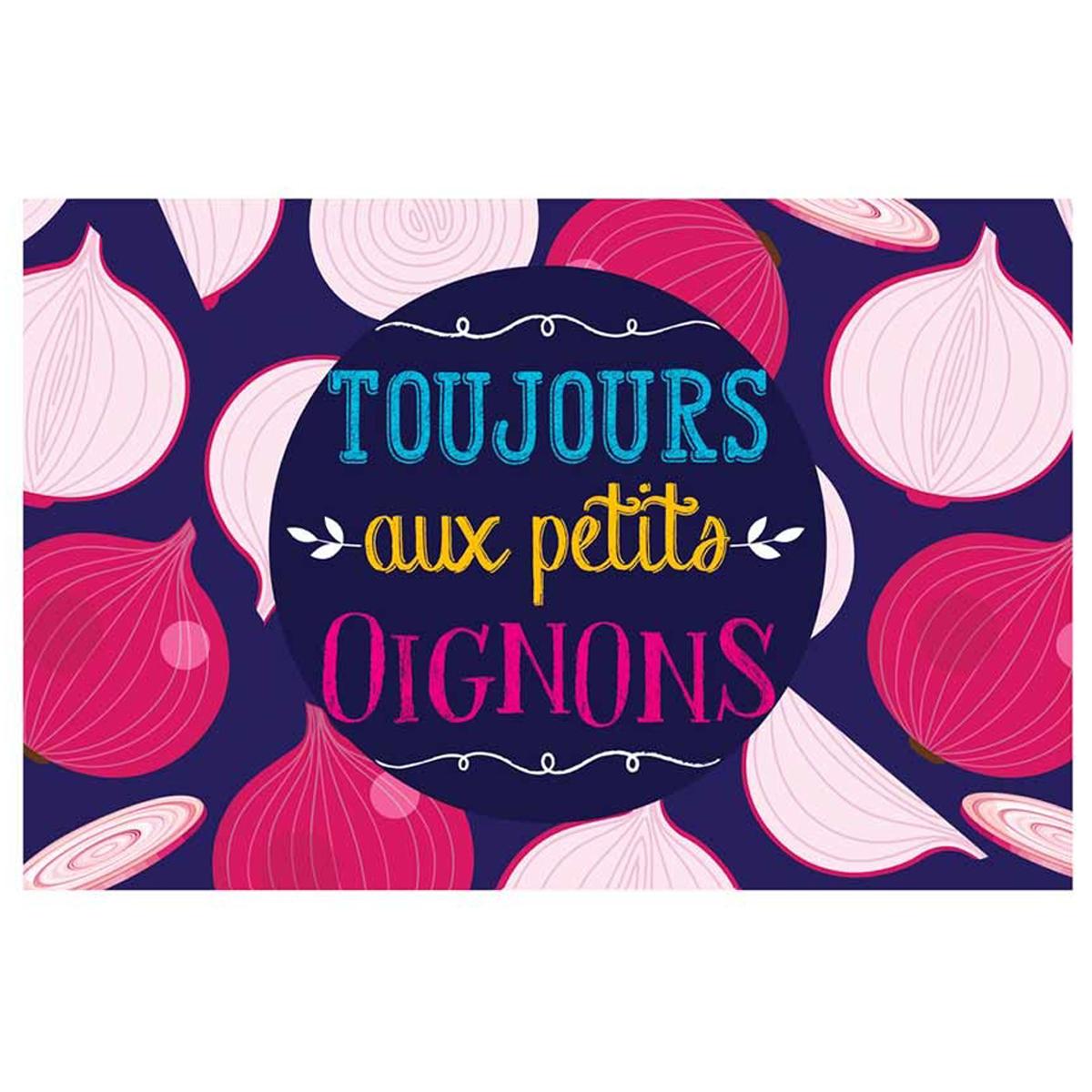 Set de table plastifié humoristique \'Messages\' violet rose (Toujours aux petits oignons) - 43x28 cm - [Q6556]