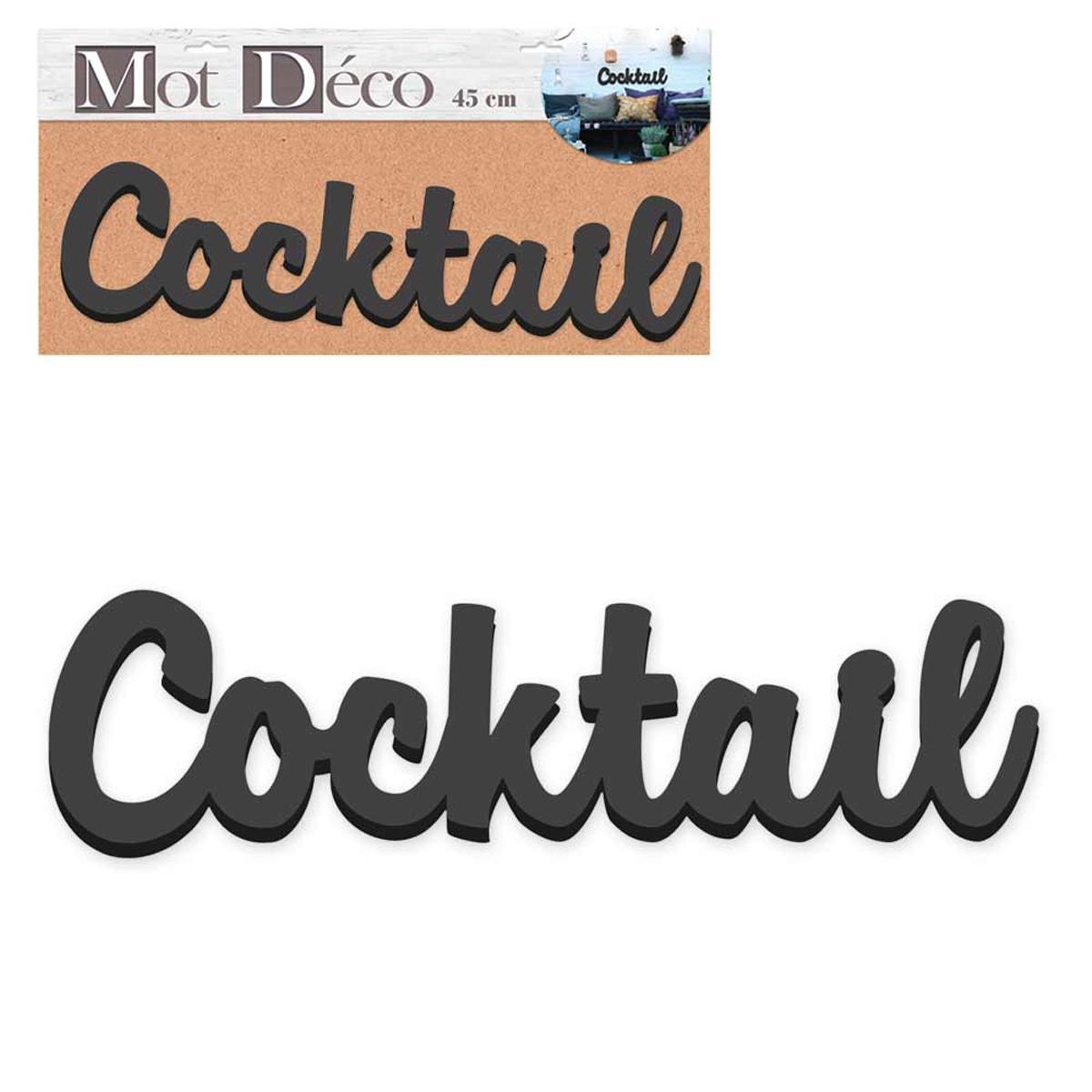 Mot Déco bois 3D \'Cocktail\' noir - 45x115x15 cm - [Q6559]