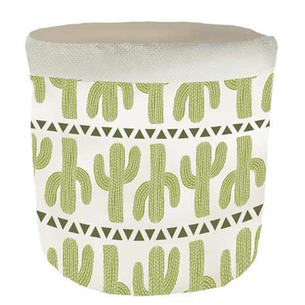 Corbeille de rangement lin \'Cactus\' vert beige - 18x165 cm - [Q6568]