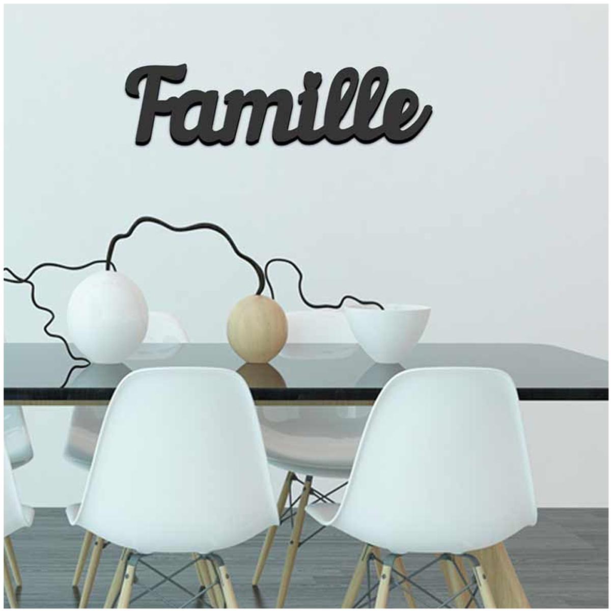 Mot Déco bois 3D \'Famille\' noir - 45x115x15 cm - [Q6594]