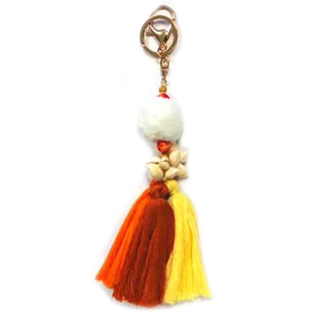 Porte-clés, bijou de sac \'Pompons Bahamas\' orange jaune - 22x4 cm - [Q7666]