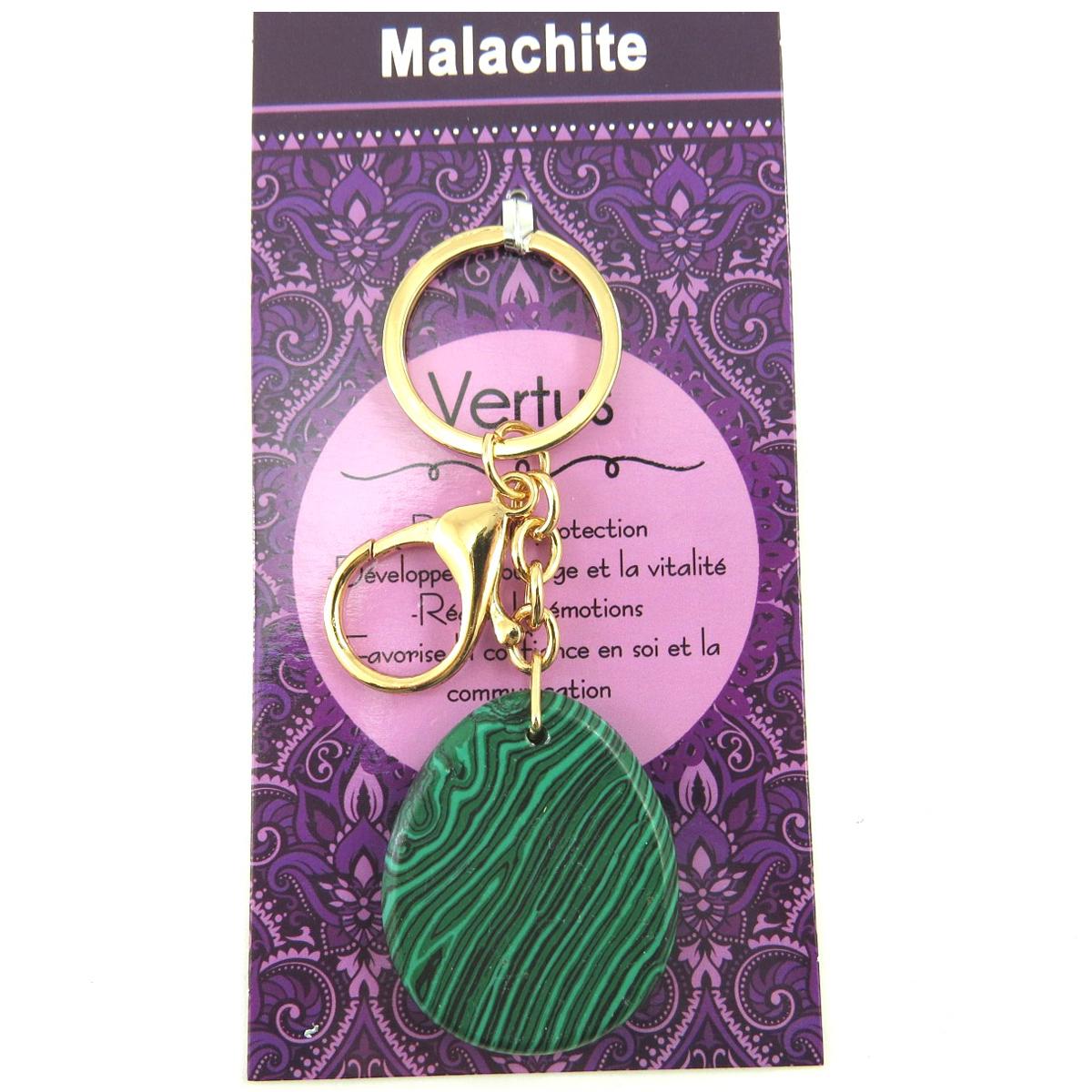Porte-clés, bijou de sac \'Mineralia\' vert malachite - 10 cm, pierre 40x35 mm - [Q7680]