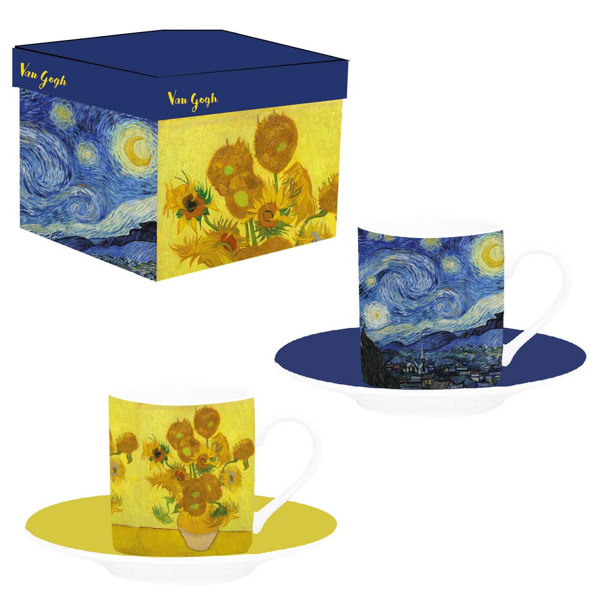 Coffret 2 tasses à café porcelaine \'Vincent Van Gogh\' - tasse 6x5 cm - [Q7691]