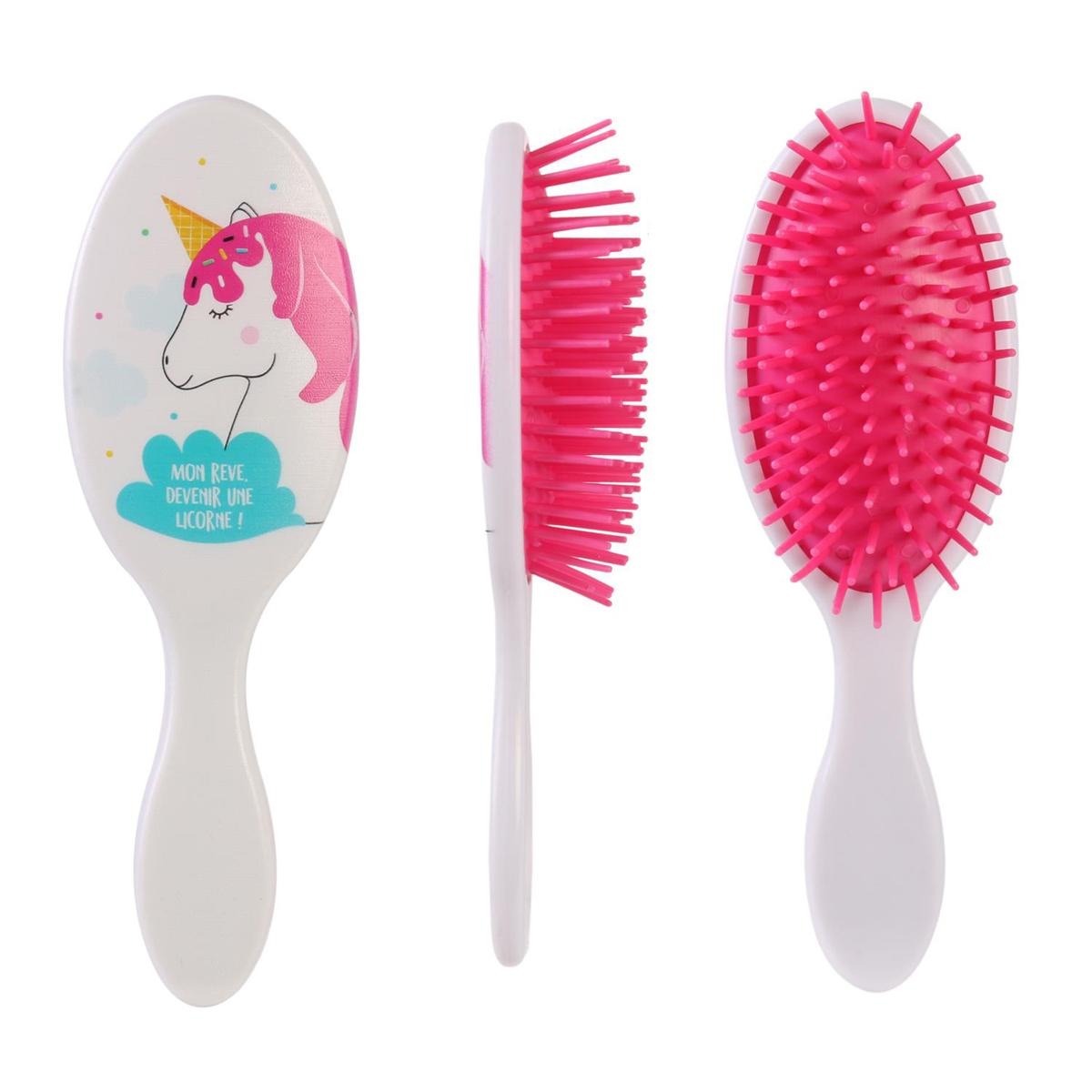 Brosse à cheveux \'Licorne My Unicorn\' blanc rose (Mon rêve devenir une licorne !) - 165x55 cm - [Q7712]