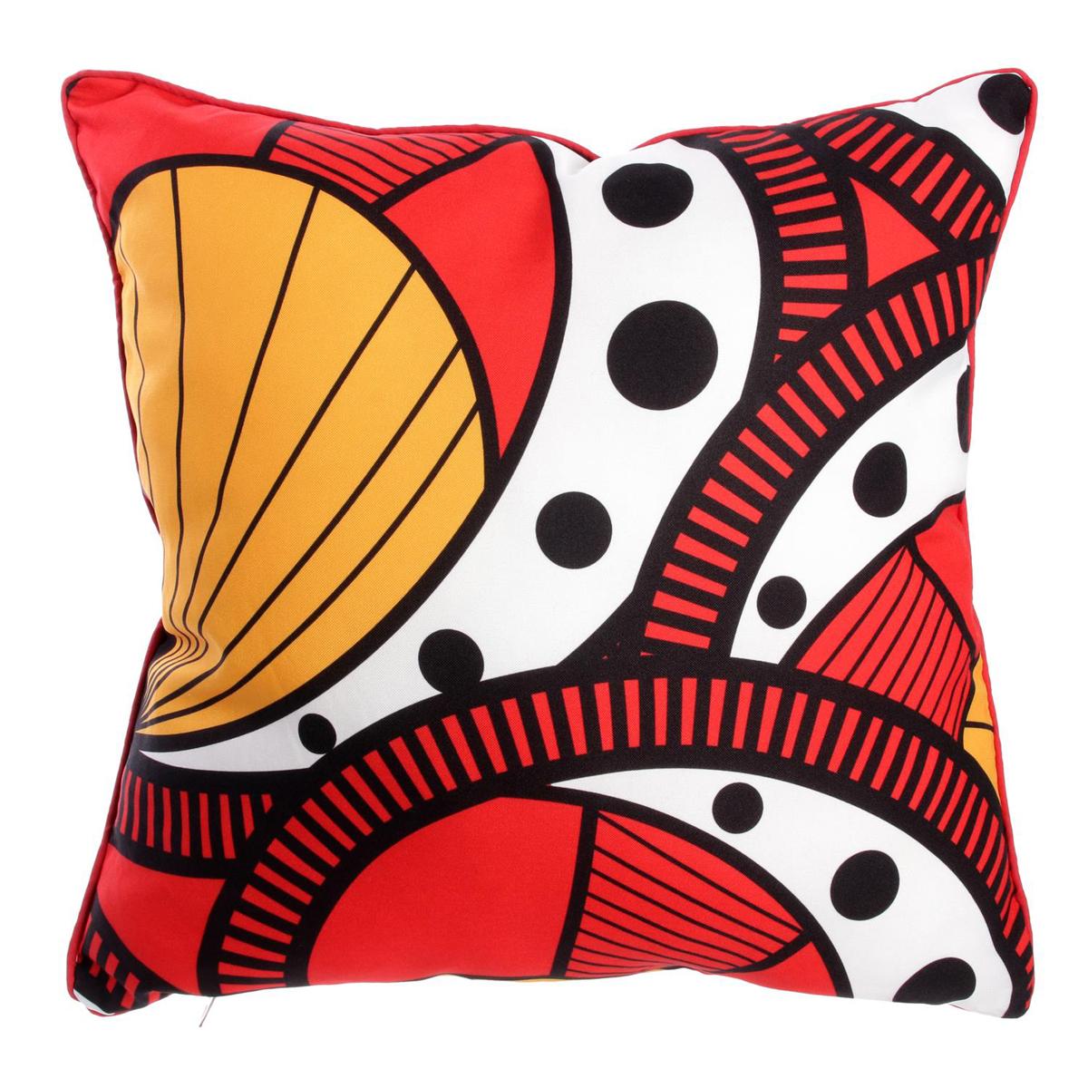 Coussin créateur \'Katmandou\' rouge orange blanc - 40 cm - [Q7721]