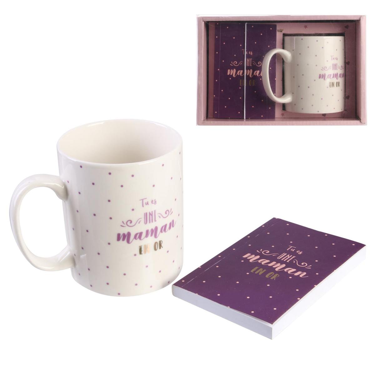 Coffret mug céramique et carnet \'Tu es une Maman en Or\' blanc rose violet - 95x7 cm (30 cl) - [Q7733]