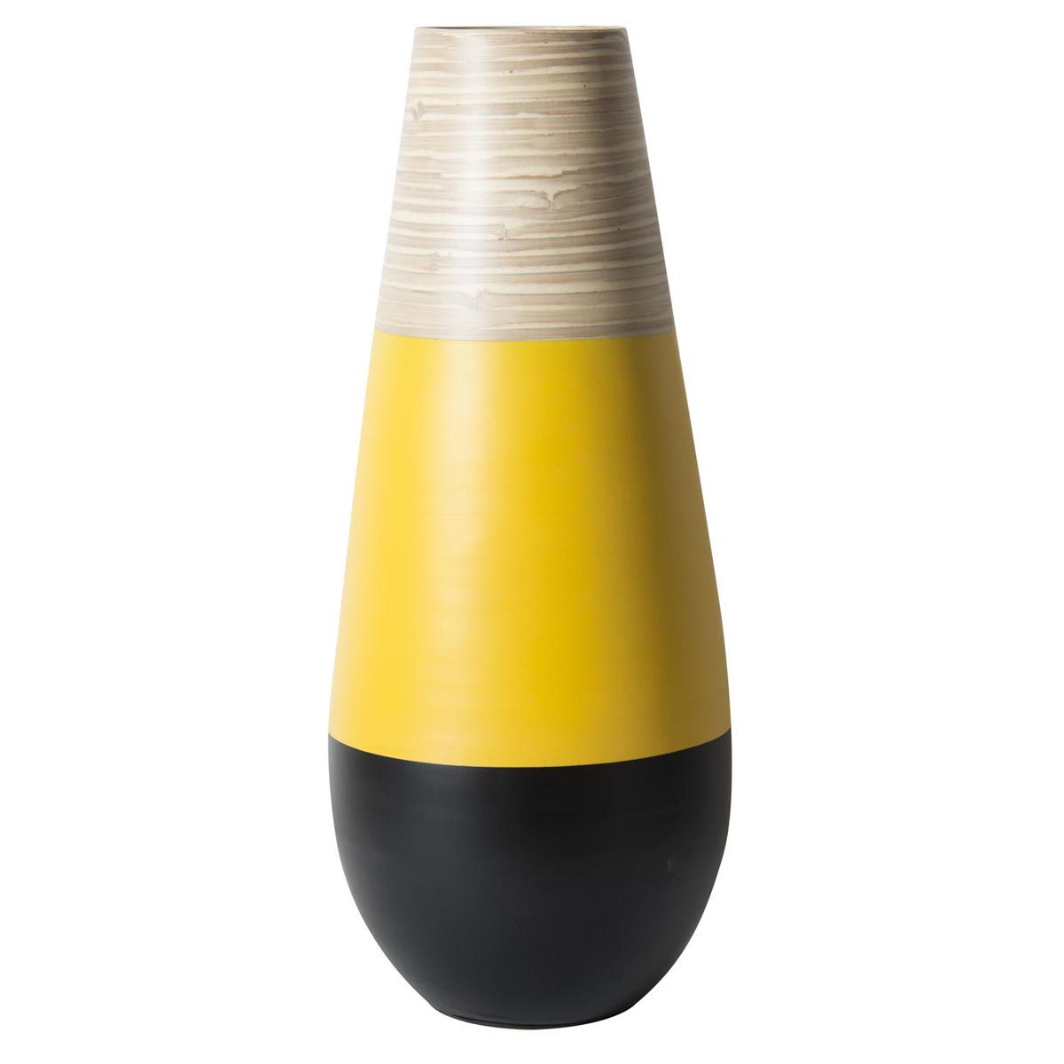 Vase jarre bambou \'Boho\' jaune noir - 50x10 cm - [Q7739]