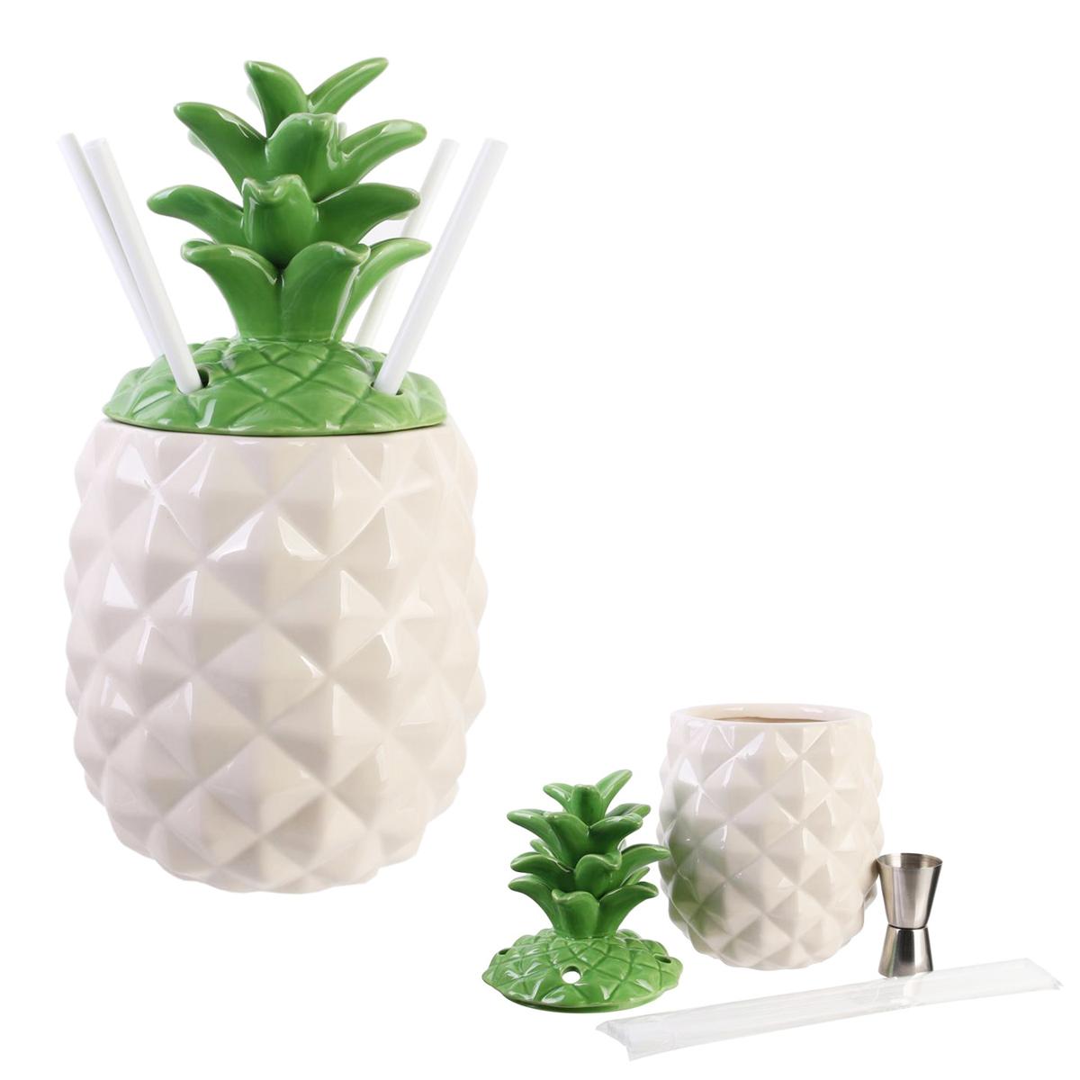 Coffret cocktail mason jar \'Ananas\' (4 pailles) - 27x11 cm (13 L) - [Q7743]