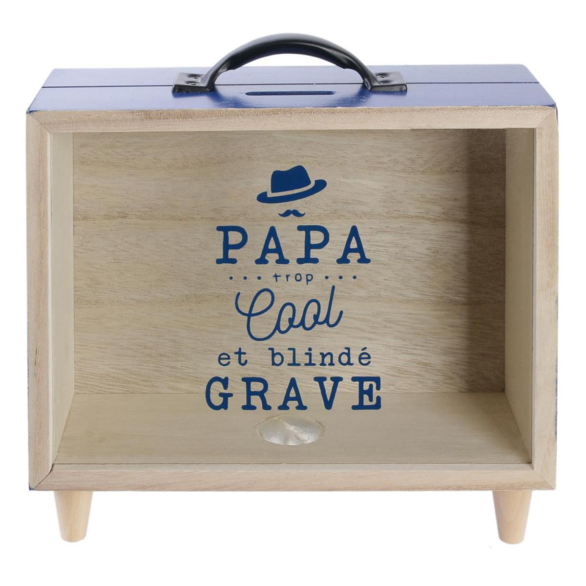Tirelire valise bois \'Papa\' bleu beige (Papa trop cool et blindé grave) - 21x20x7 cm - [Q7745]