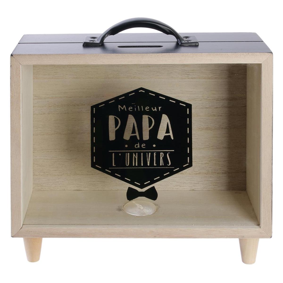 Tirelire valise bois \'Papa\' noir beige (Meilleur Papa de l\'univers) - 21x20x7 cm - [Q7746]