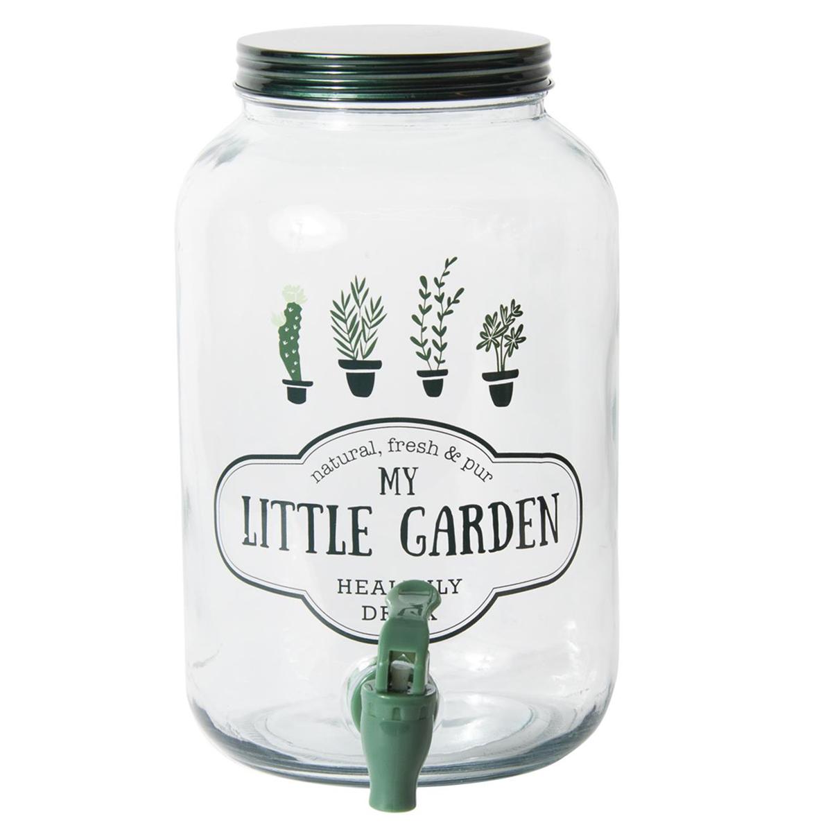 Fontaine mason jar verre \'Messages\' vert (My Little Garden) - 25x16 cm (35 L) - [Q7747]