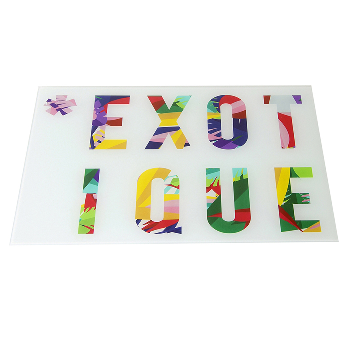 Planche à découpe / dessous de plat verre  \'Tropical\' multicolore (Exotique) - 40x30 cm - [Q7749]