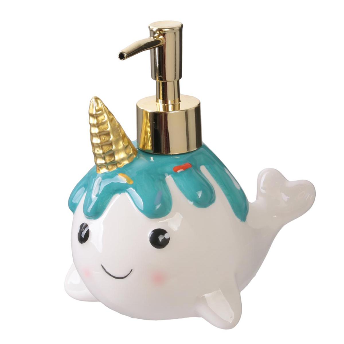 Distributeur de savon céramique \'Licorne My Unicorn\' blanc vert (balein unicorn) - 15x13 cm - [Q7753]