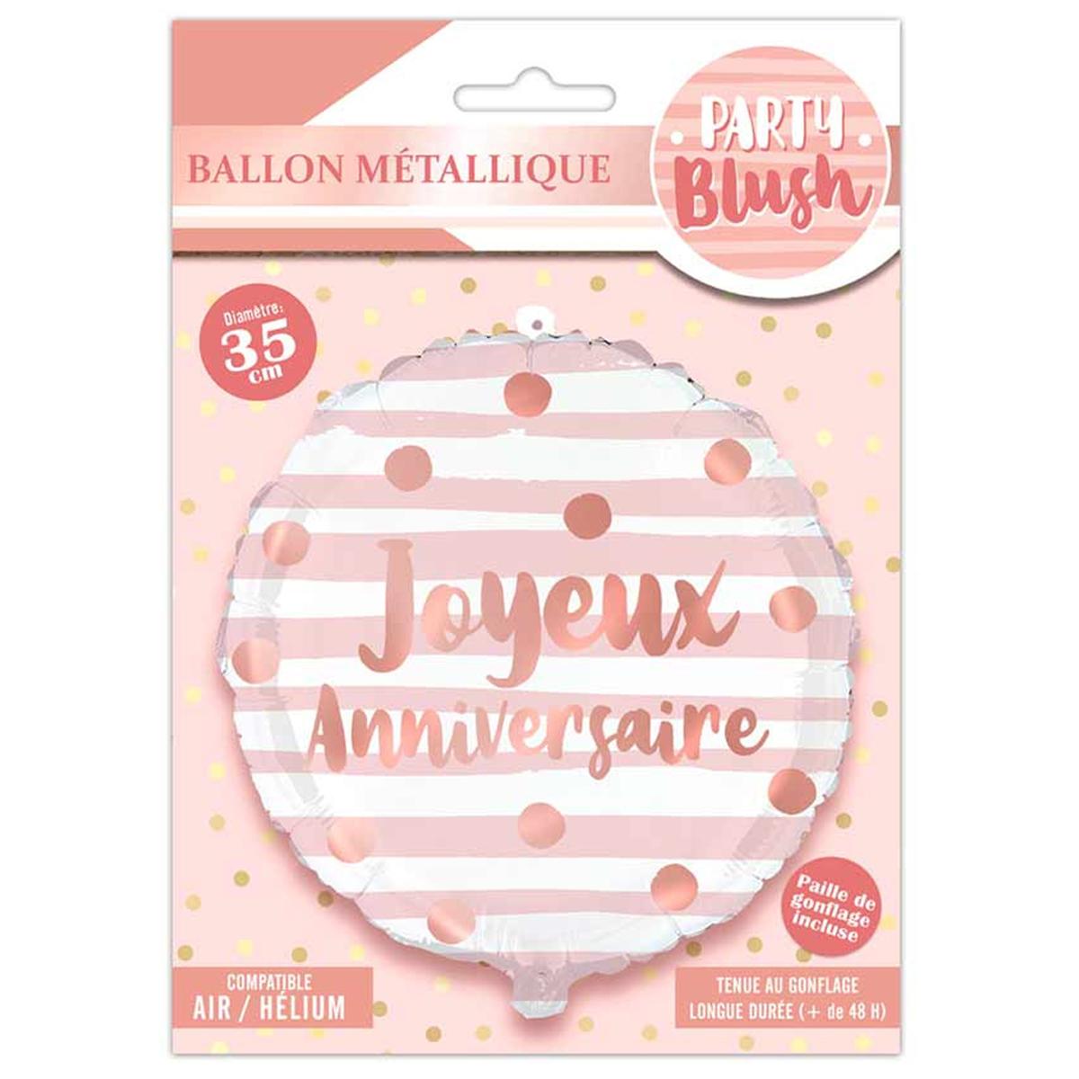 Ballon métallique \'Joyeux Anniversaire\' rose gold (blush) - 35 cm - [Q8268]