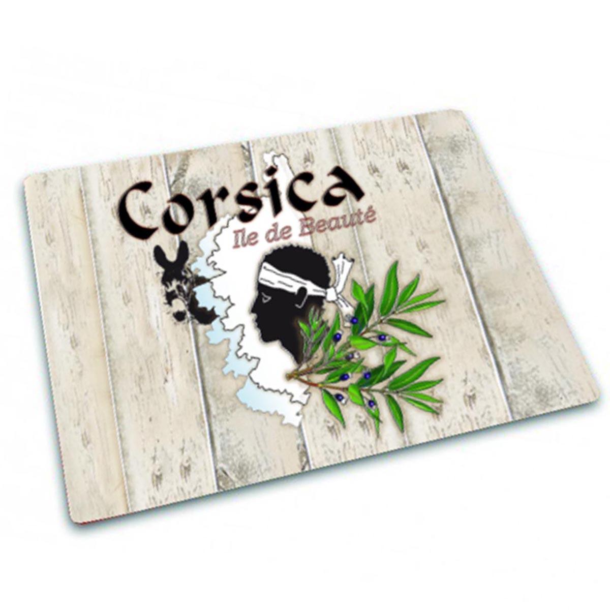 Planche à découpe / dessous de plat verre \'Corsica\' beige (Ile de Beauté) - 30x20 cm - [Q8315]