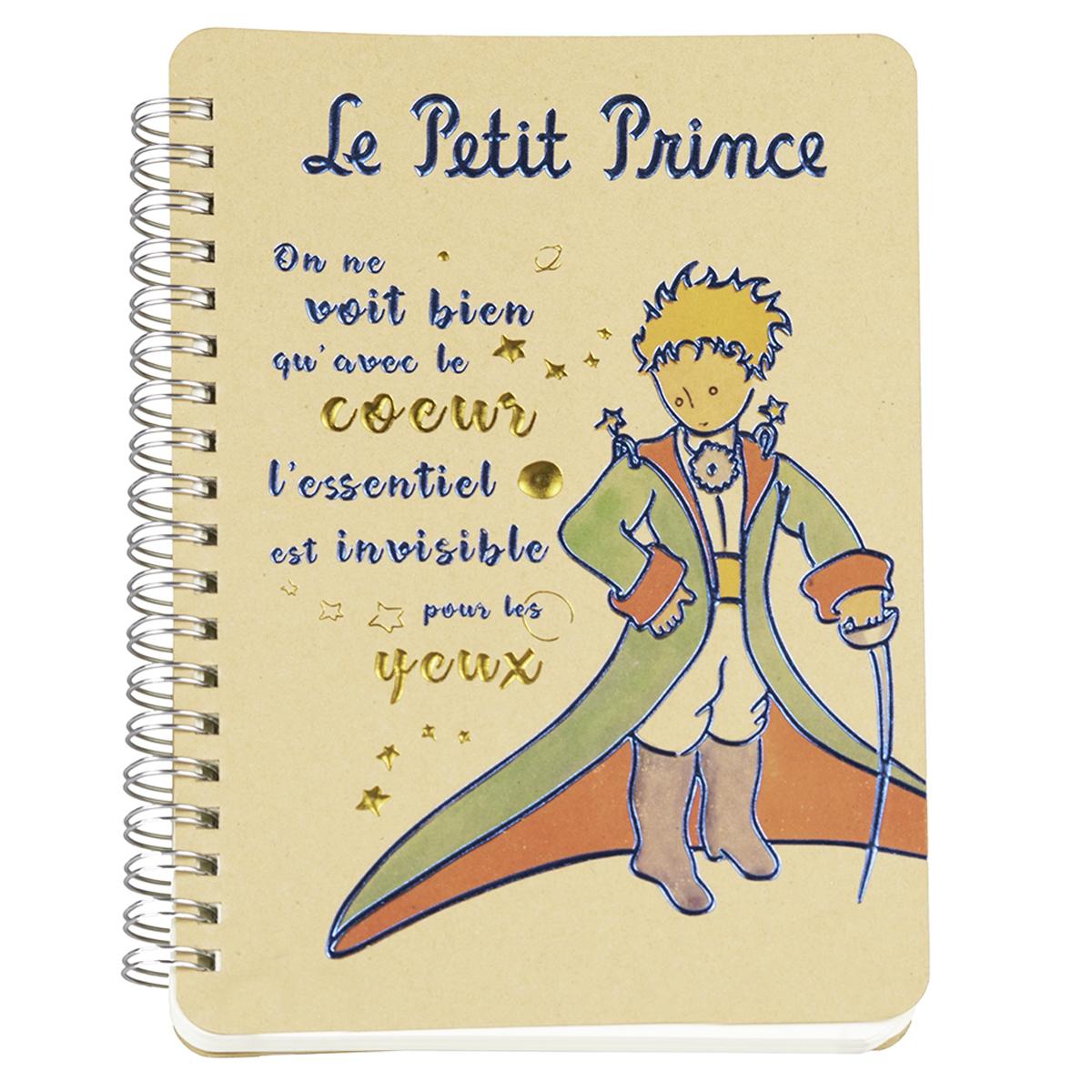 Carnet à spirale \'Le Petit Prince\' beige (cape, épée) - 18x13 cm - [Q8328]