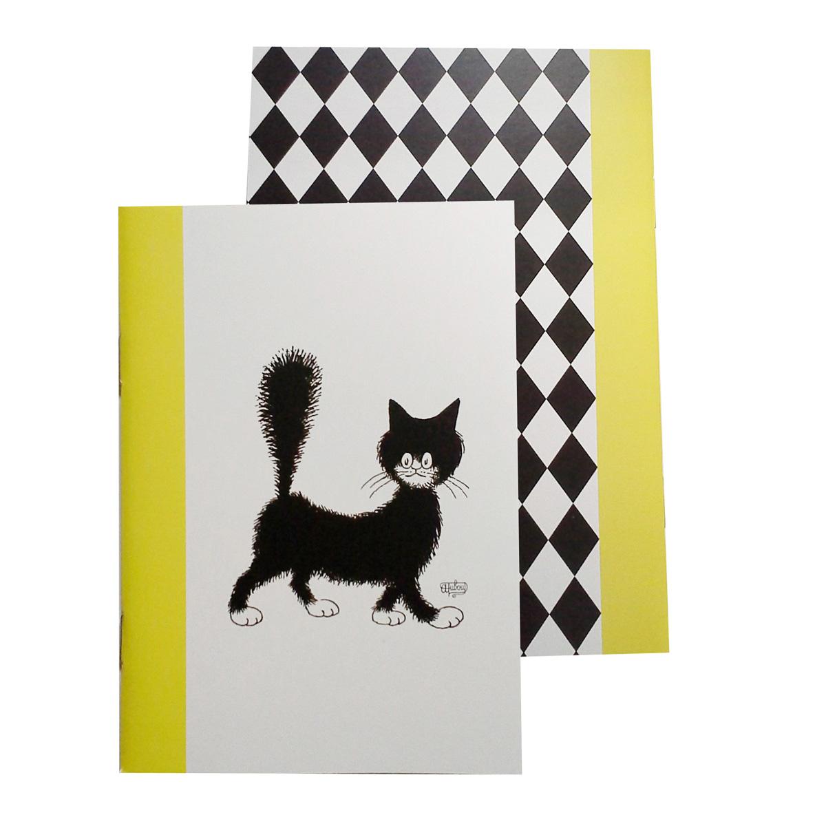 Carnet \'Chats Dubout\' jaune blanc noir (mignonette) - 147x105 cm - [Q9232]