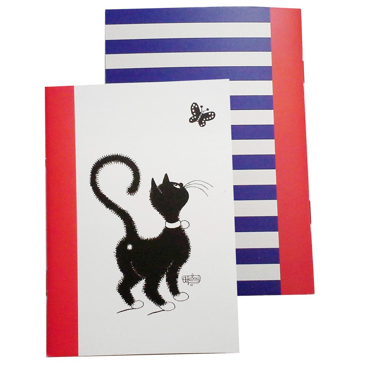 Carnet \'Chats Dubout\' rouge blanc noir (chat papillon) - 147x105 cm - [Q9234]