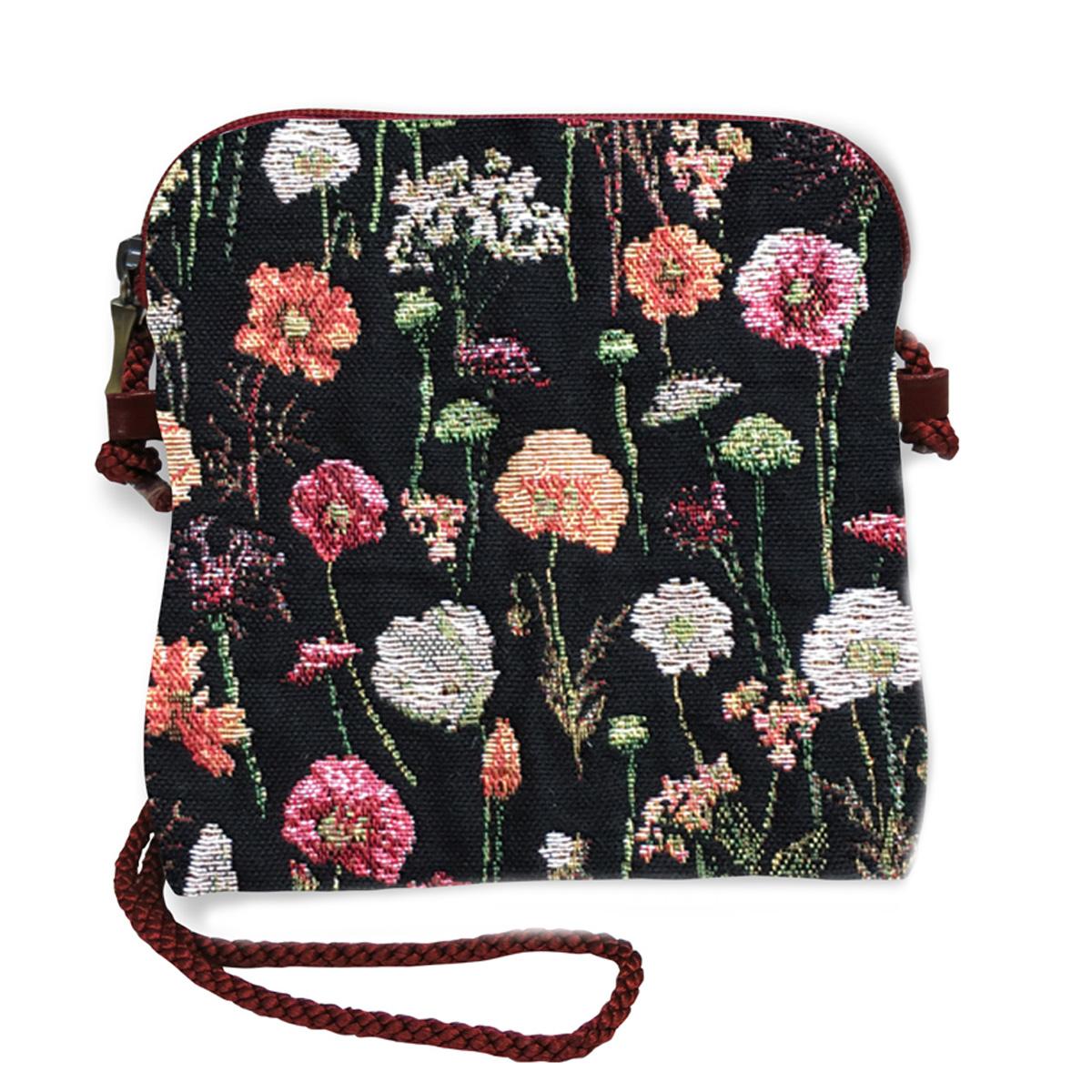 Sac bandoulière artisanal \'Royal Tapisserie\' noir multicolore (Fleurs en Hiver)  - 18x17 cm - [Q9242]