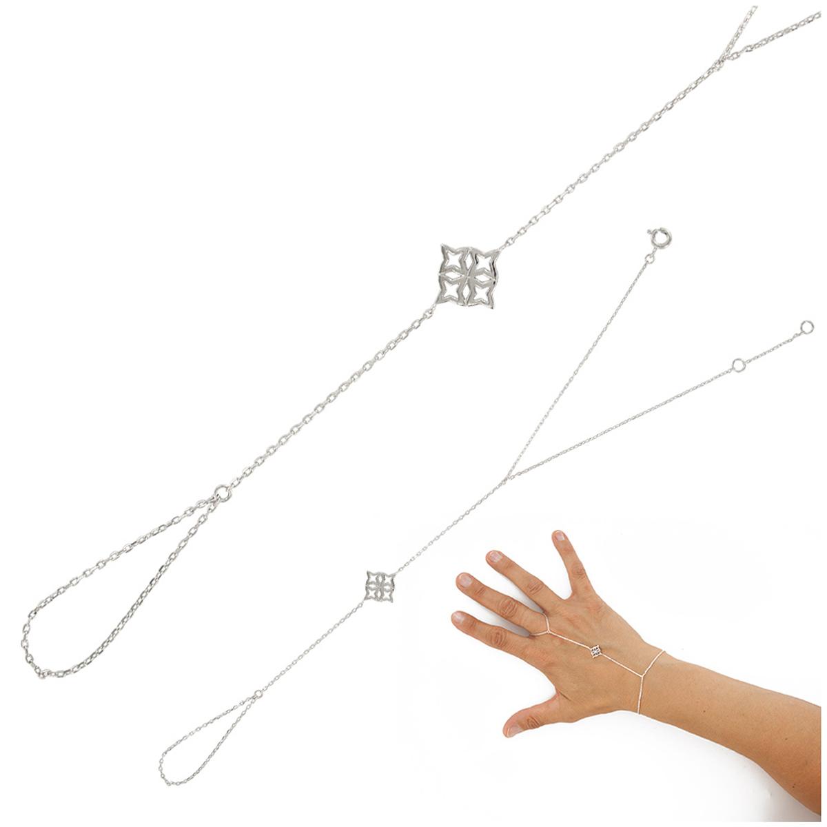 Bracelet bague argent \'Boho\' argenté (rhodié) - 12x12 mm - [Q9362]