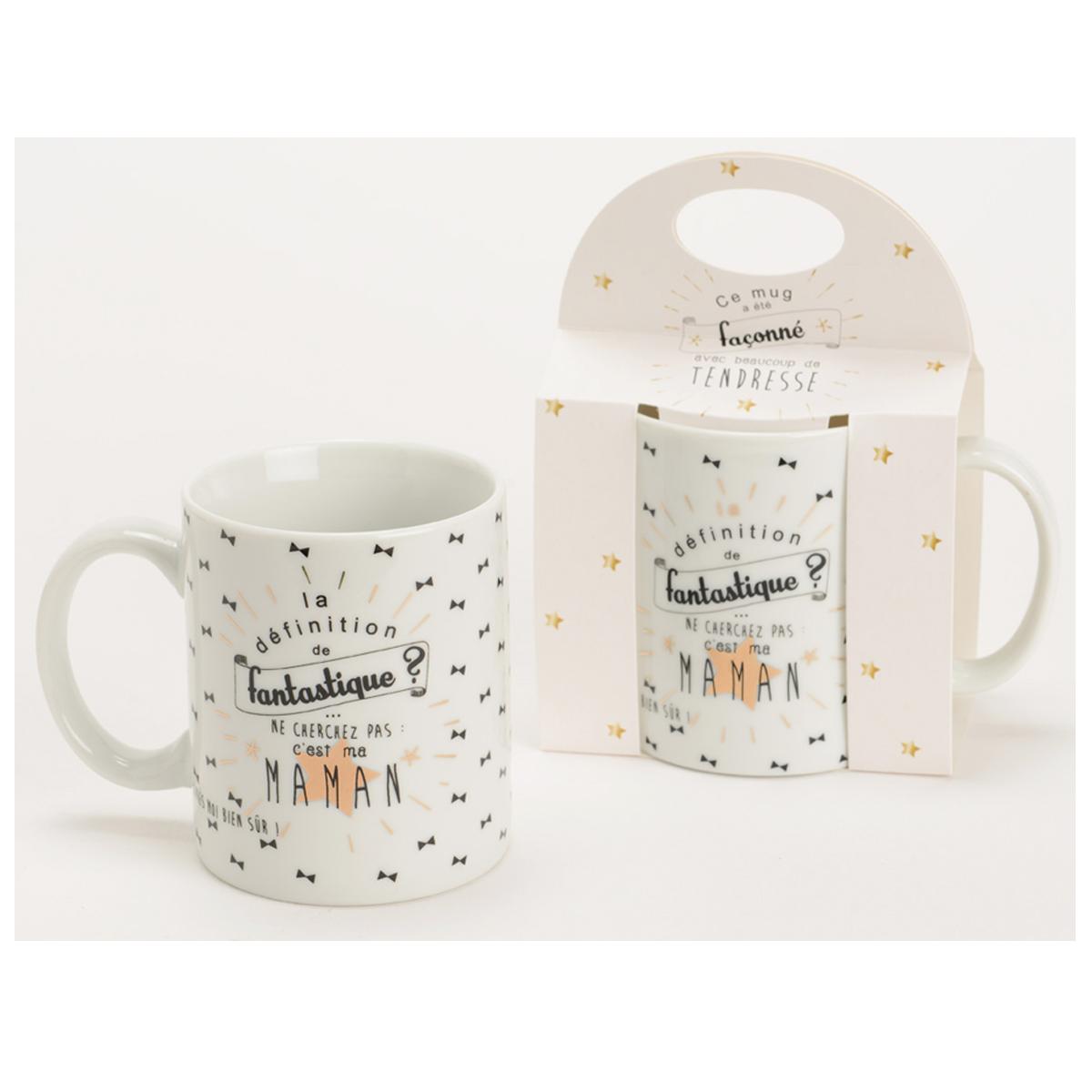 Mug porcelaine \'Maman\' blanc noir (fantastique) - 95x80 mm - [Q9575]