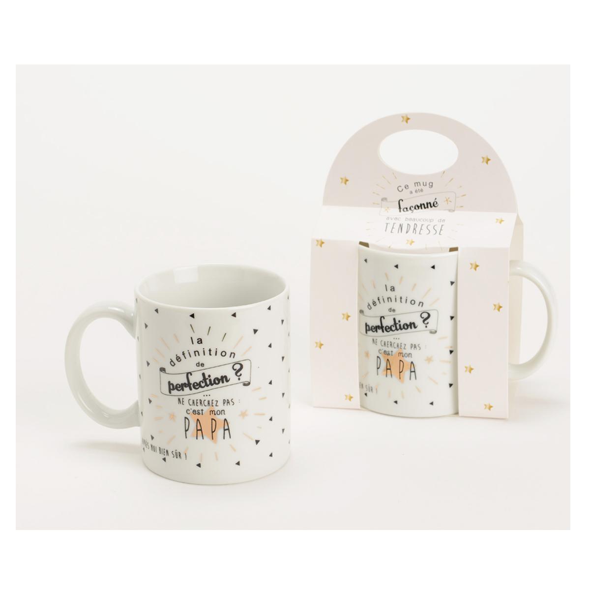 Mug porcelaine \'Papa\' blanc noir (perfection) - 95x80 mm - [Q9576]