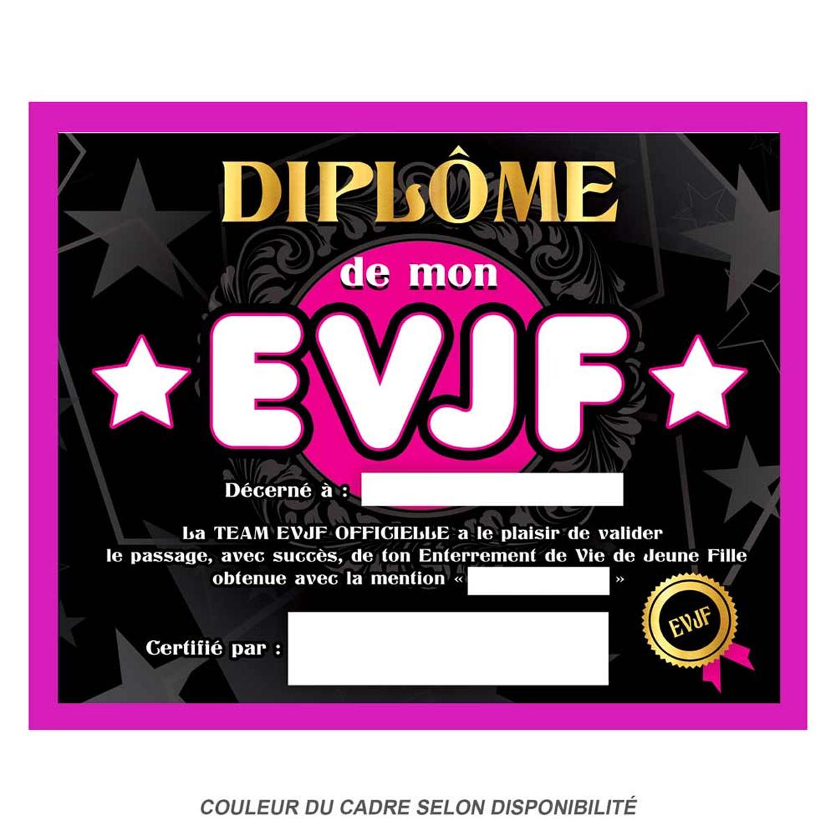 Cadre \'Diplôme de mon EVJF\' noir rose - 25x20x15 cm - [Q9593]
