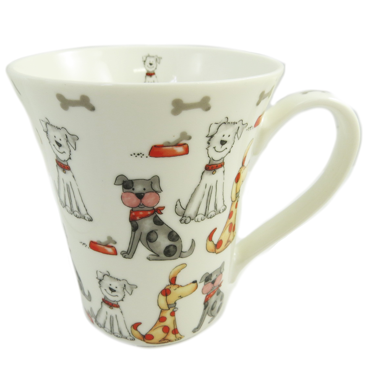 Mug porcelaine \'Chiens\' blanc multicolore - 10x9 cm - [Q9644]