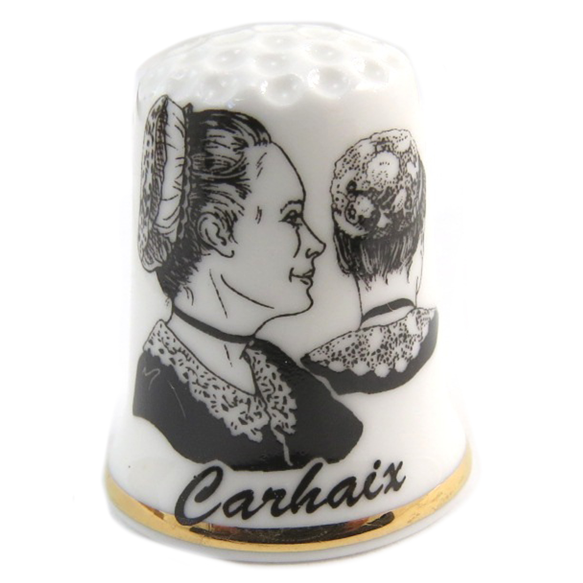 Dé à coudre porcelaine \'Coiffes de Bretagne\' noir blanc (Carhaix) - 27x23 mm - [Q9783]
